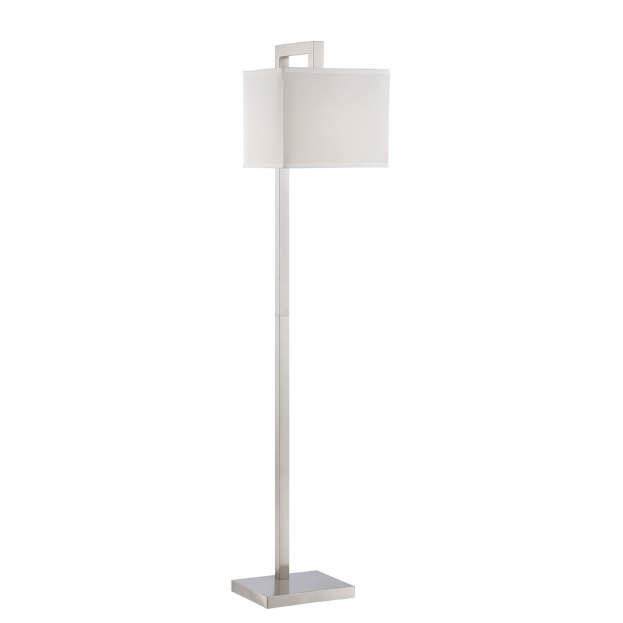 Lite Source Contento 60-in Polished Steel Floor Lamp with Fabric Shade