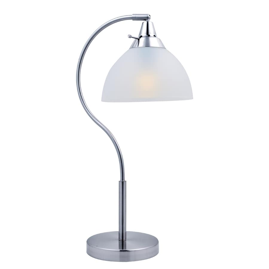 Lite Source Zuna 22-in Polished Steel Indoor Table Lamp with Plastic Shade