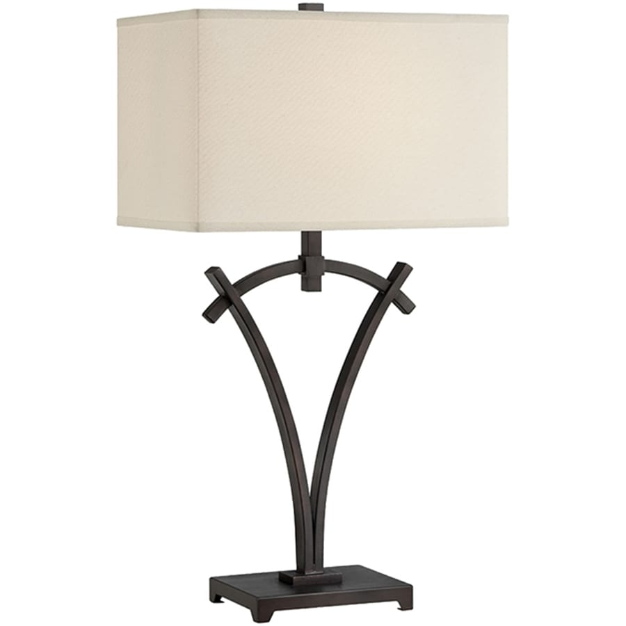 Lite Source Madeleine 29.5-in Dark Bronze Indoor Table Lamp with Fabric Shade