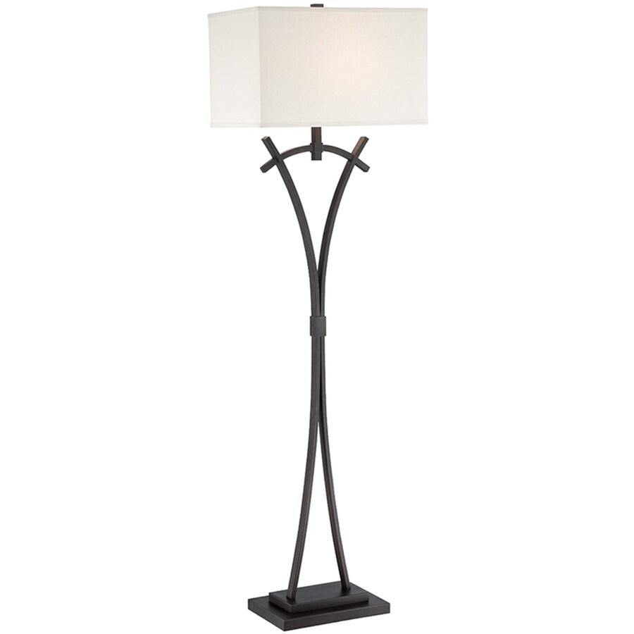 Lite Source Madeleine 60-in Dark Bronze Indoor Floor Lamp with Fabric Shade