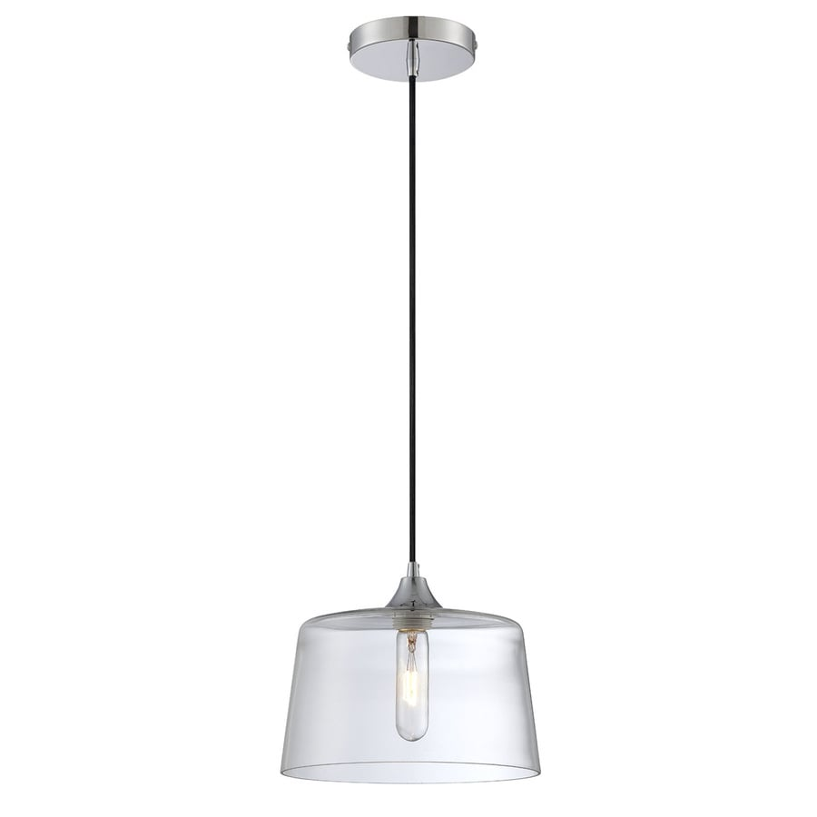 Lite Source Daphne 10-in Chrome/Gloss Industrial Mini Clear Glass Bowl Pendant