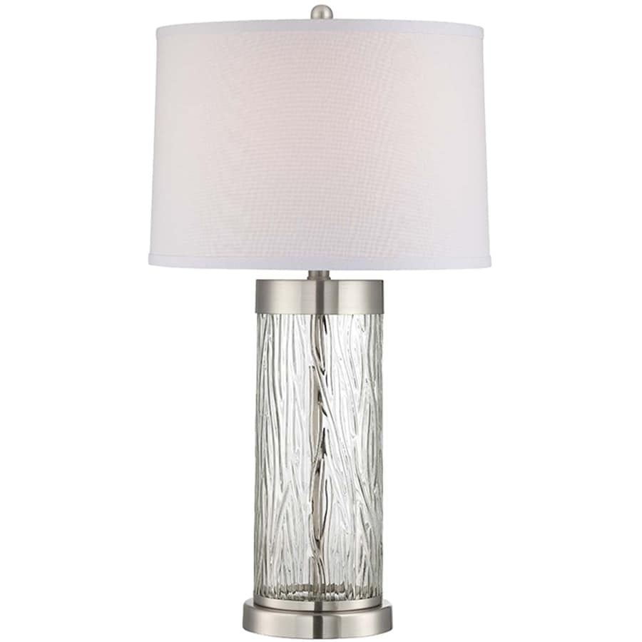 Lite Source Enrico 29.5-in 3-Way Polished Steel, Clear Indoor Table Lamp with Fabric Shade