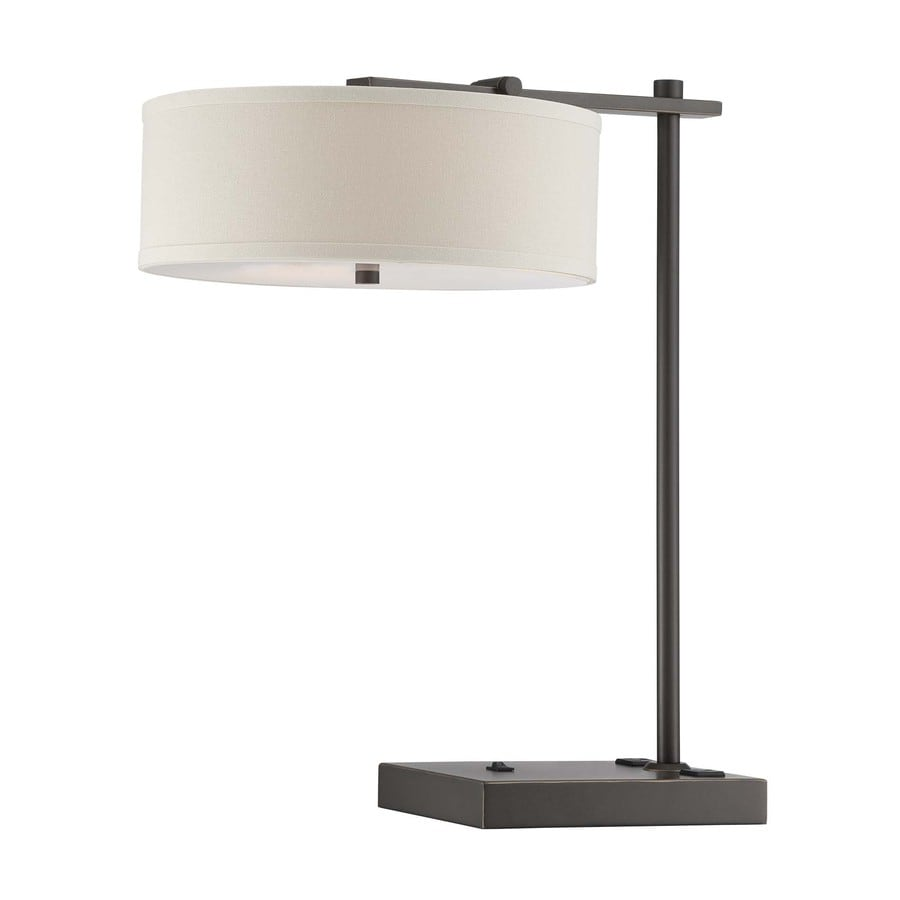 Lite Source Primavera 23-in Dark Bronze Standard Table Lamp with Fabric Shade