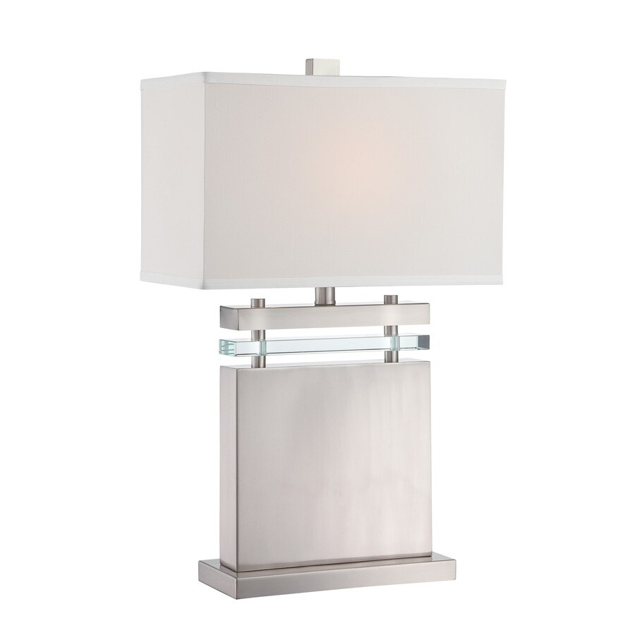 Lite Source Draco 26.5-in Polished Steel Standard Table Lamp with Fabric Shade