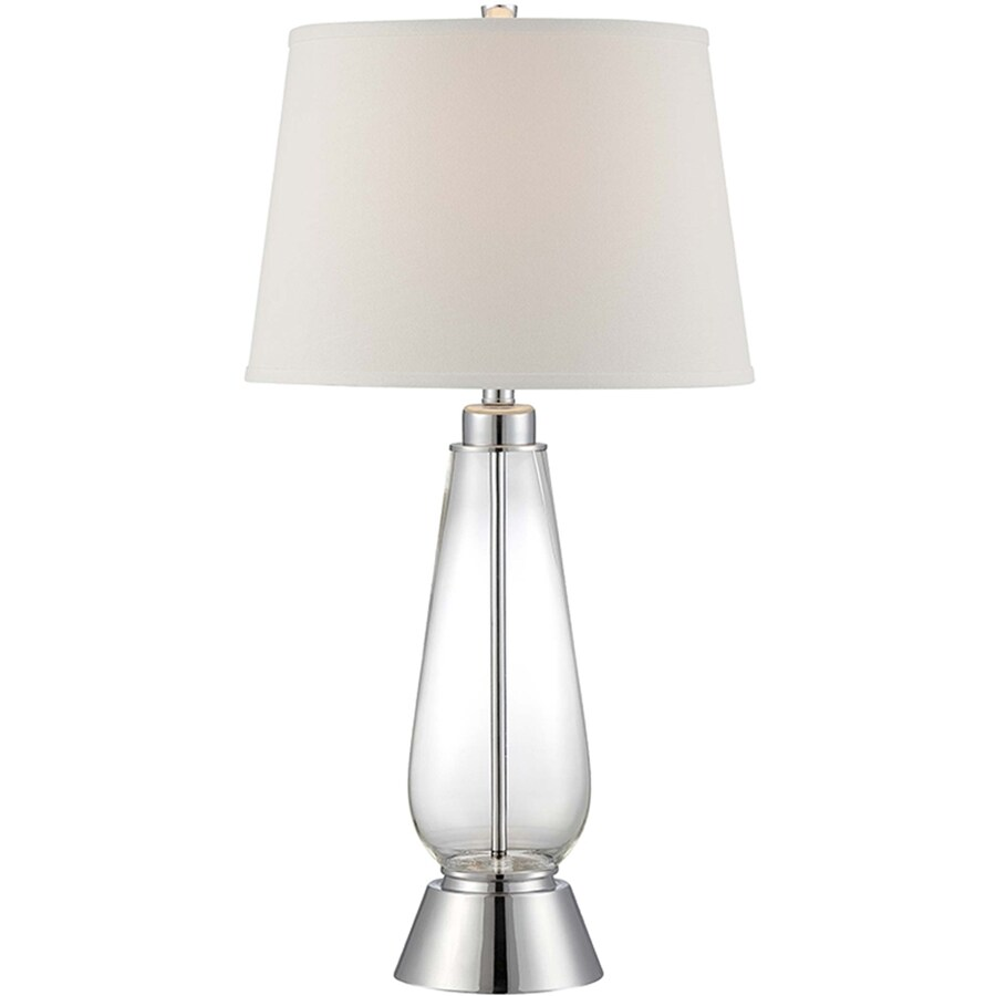 Lite Source Danya 30.5-in Polished Steel, Clear Standard 3-Way Switch Table Lamp with Fabric Shade
