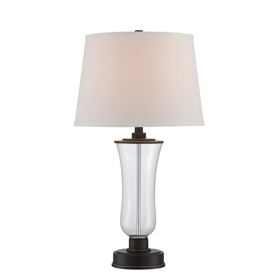 Lite Source Prisco 28.5-in Dark Bronze, Clear Standard Table Lamp with Fabric Shade