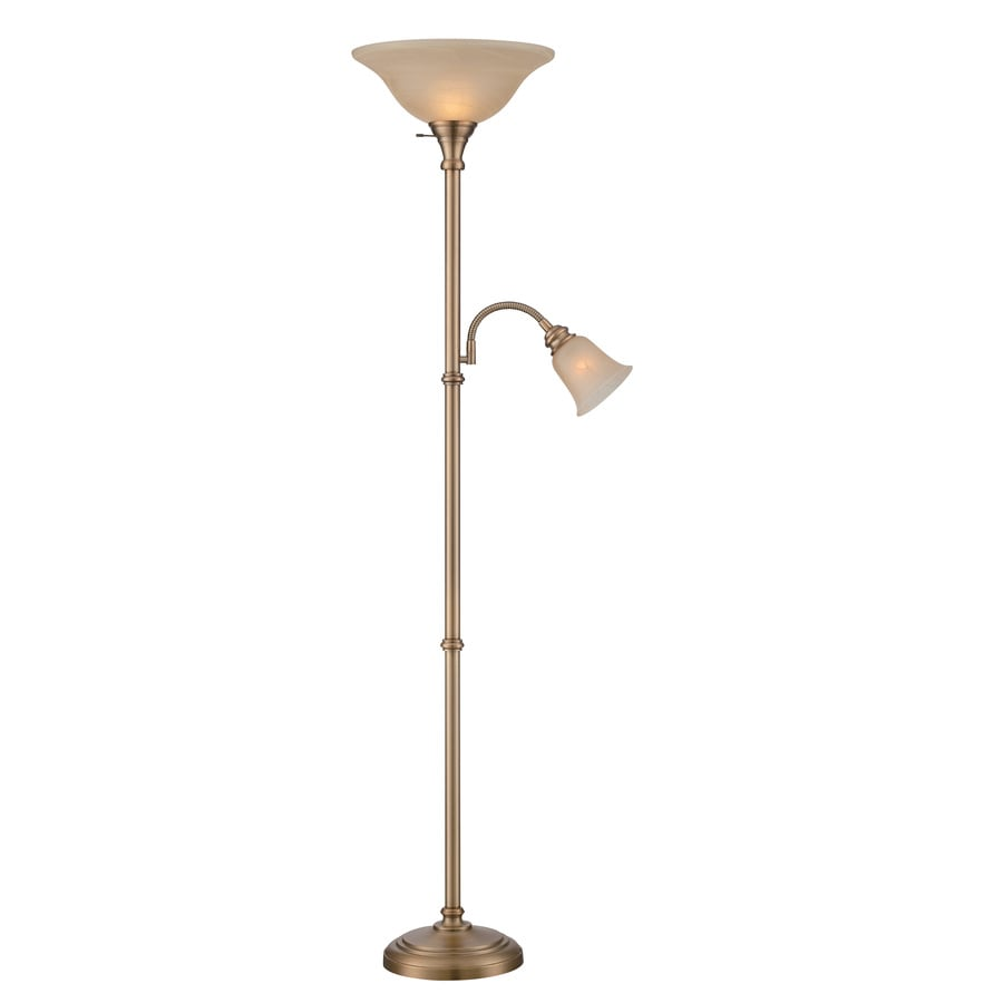 Lite Source Henley 72-in Antique Brass Multi-Head Floor Lamp with Glass Shade