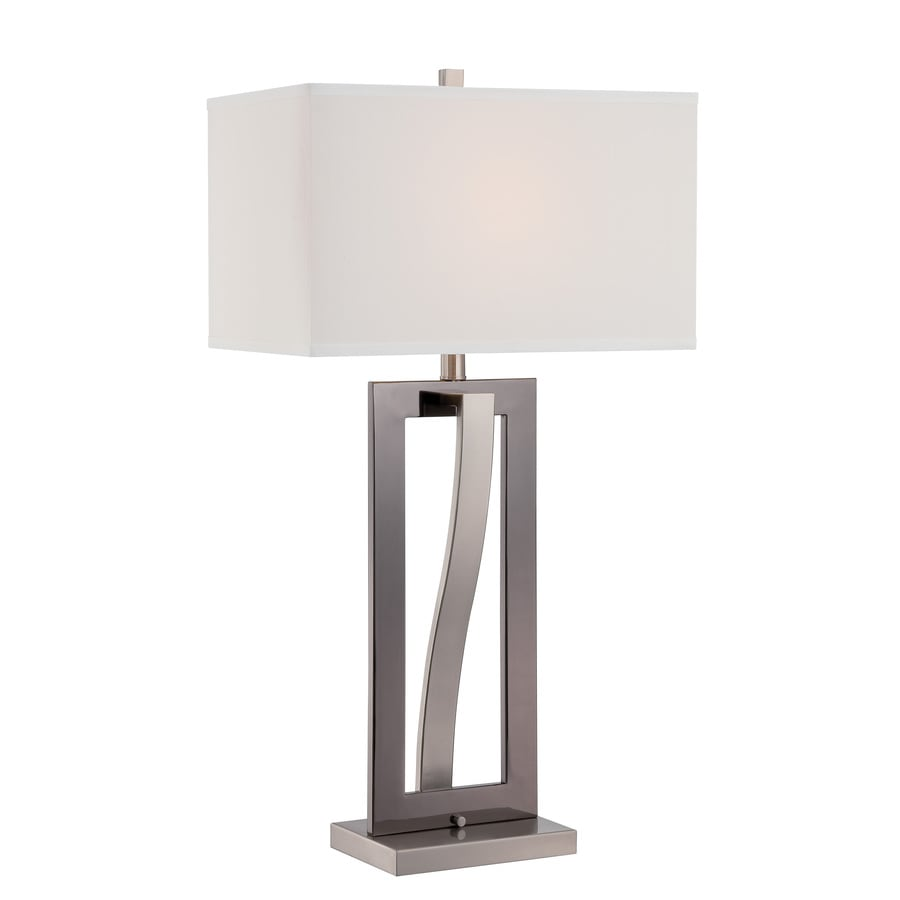 Lite Source Sandro 31.5-in Black, Polished Steel Standard Table Lamp with Fabric Shade
