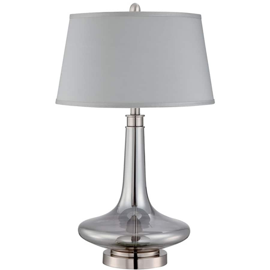 Lite Source Kelston 28-in Polished Steel, Smoke-Mirrored Indoor Table Lamp with Fabric Shade