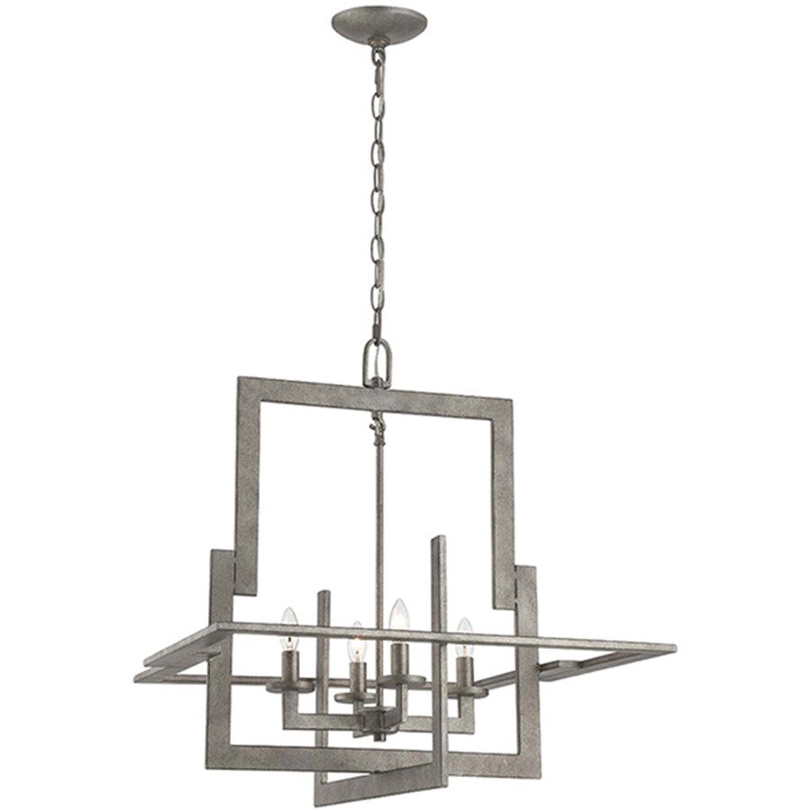 Lite Source Mireya 22-in 4-Light Antique Patina Rustic Candle Chandelier