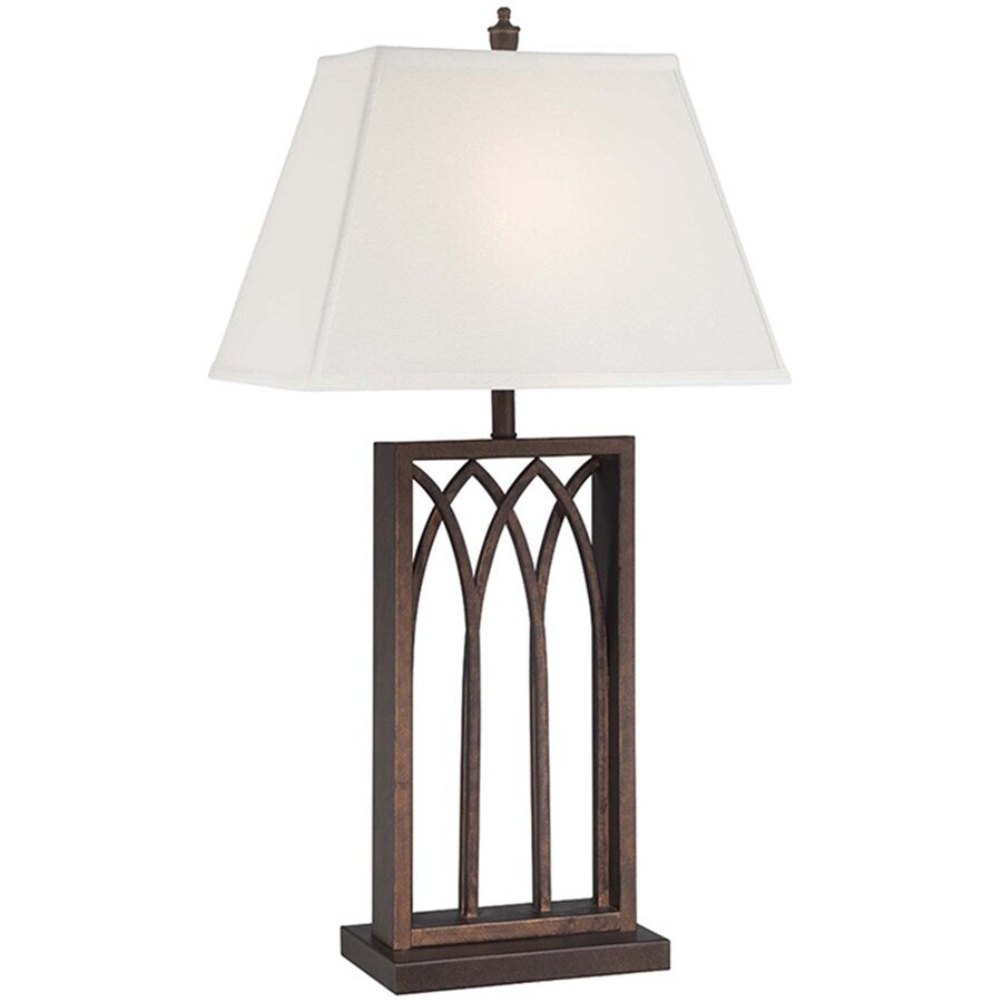 Lite Source Cambridge 30.5-in Antique Bronze Indoor Table Lamp with Fabric Shade