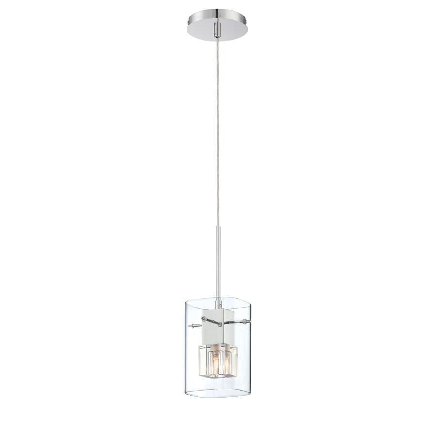 Lite Source Aida 5-in Chrome/Gloss Industrial Mini Clear Glass Rectangle Pendant