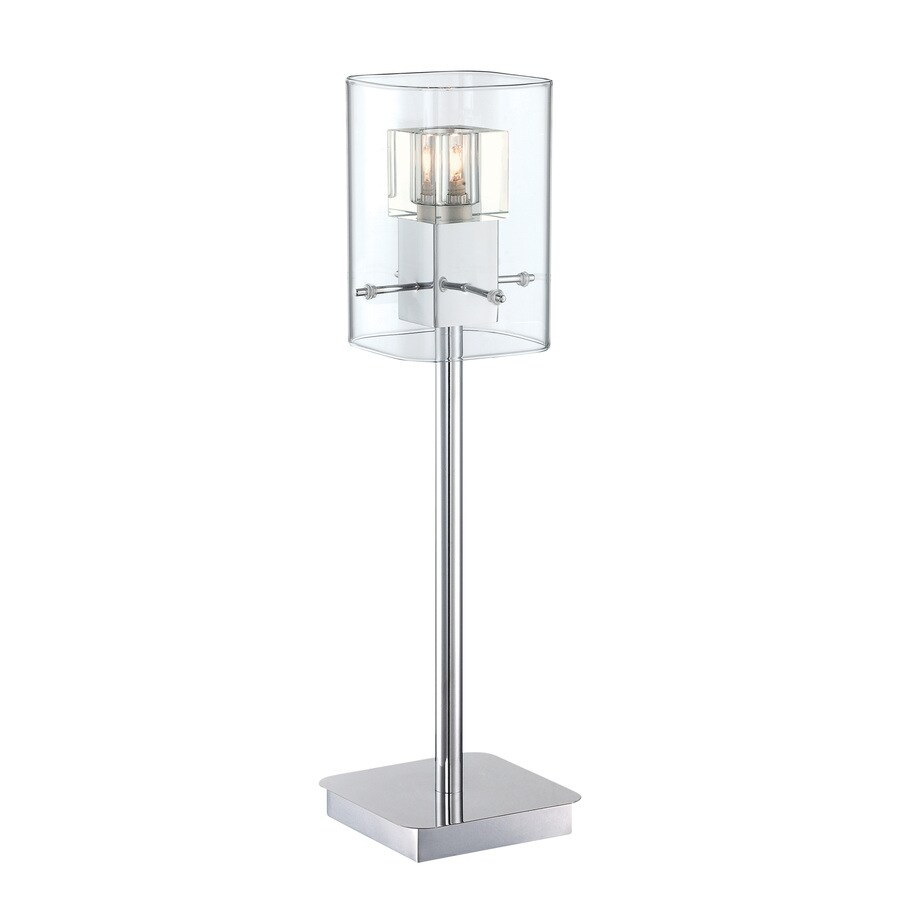 Lite Source Aida 20-in Chrome Standard Table Lamp with Glass Shade