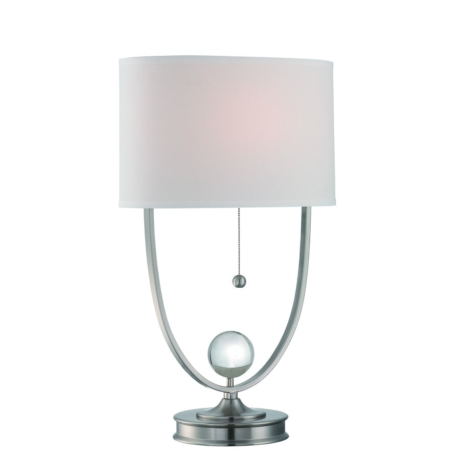 Lite Source Palma 26-in Polished Steel, Crystal Indoor Table Lamp with Fabric Shade