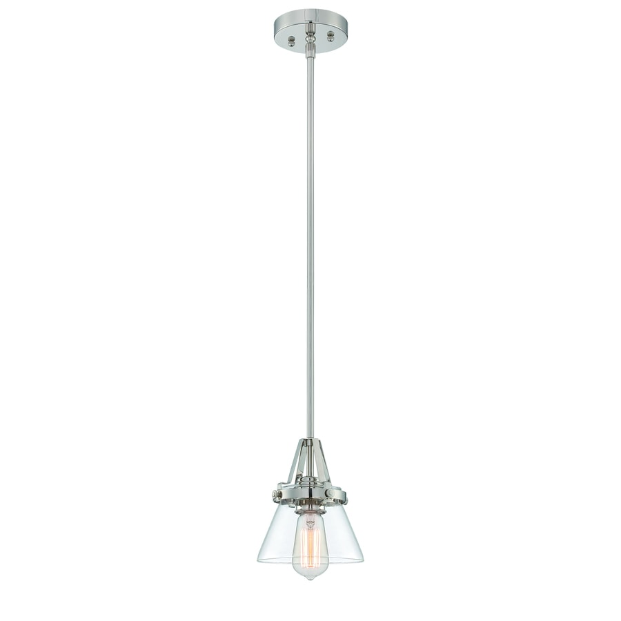 Lite Source Galileo 6.5-in Stainless Steel/Polished Industrial Mini Clear Glass Cone Pendant