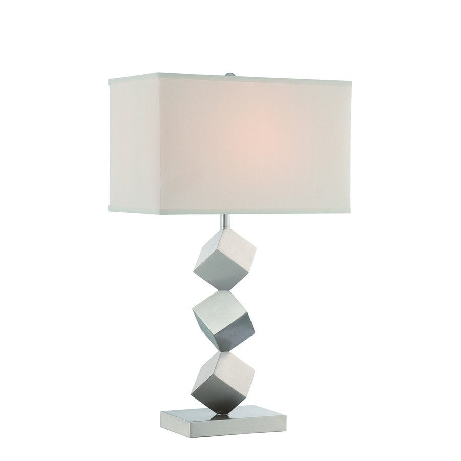 Lite Source Agostino 27.5-in Satin Nickel Standard 3-Way Switch Table Lamp with Fabric Shade