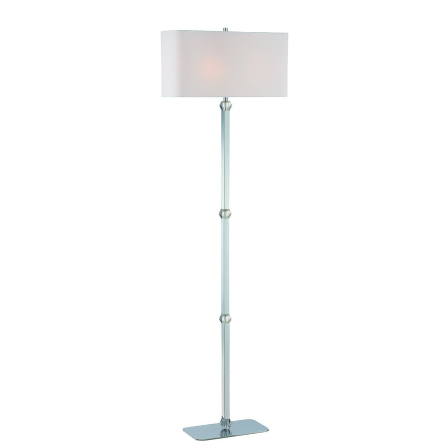 Lite Source Cairo 63-in Chrome, Crystal Casual/Transitional Shaded Floor Lamp Indoor Floor Lamp with Fabric Shade