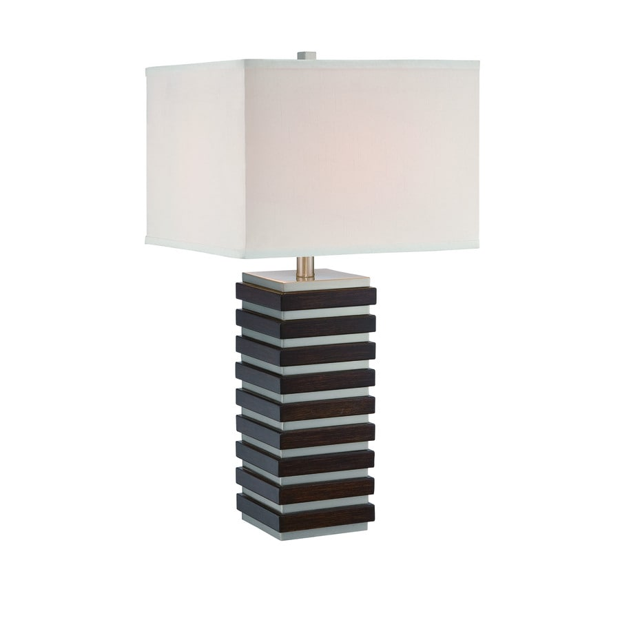 Lite Source Dante 27.5-in Polished Steel, Dark Walnut Standard 3-Way Switch Table Lamp with Fabric Shade