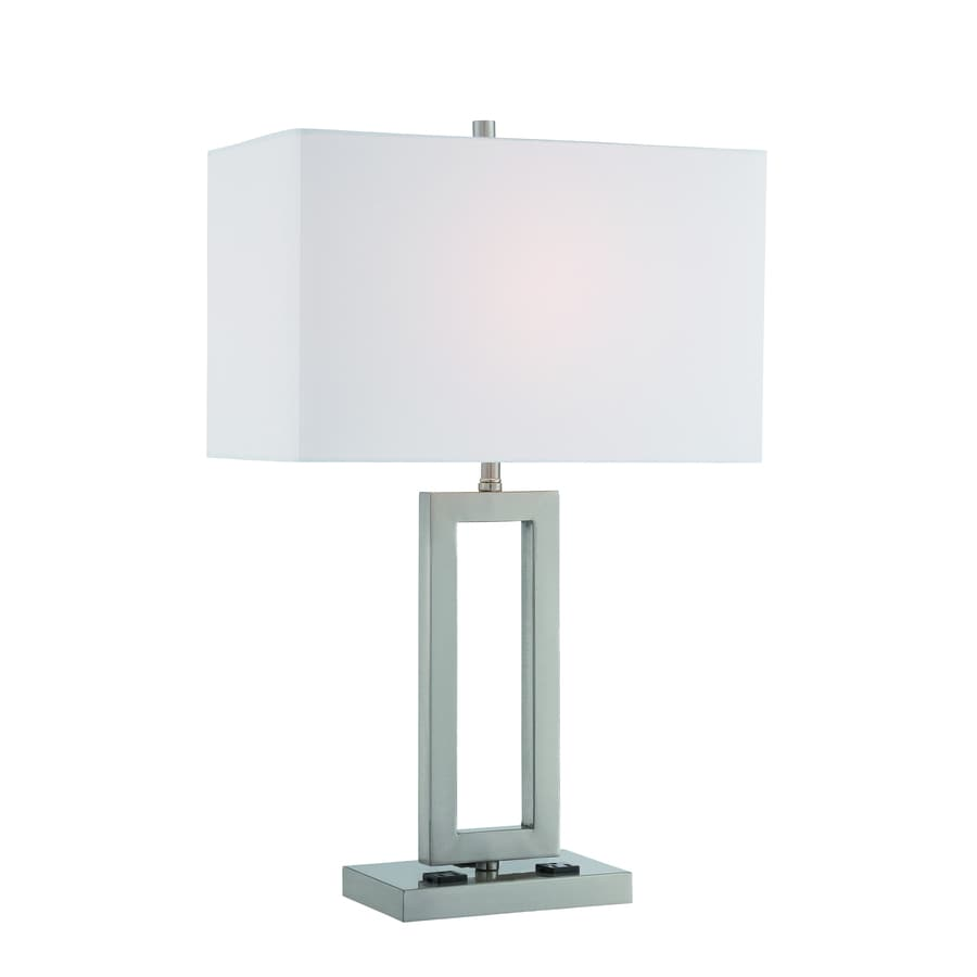 Lite Source Fiadi 25.5-in Polished Steel Indoor Table Lamp with Fabric Shade