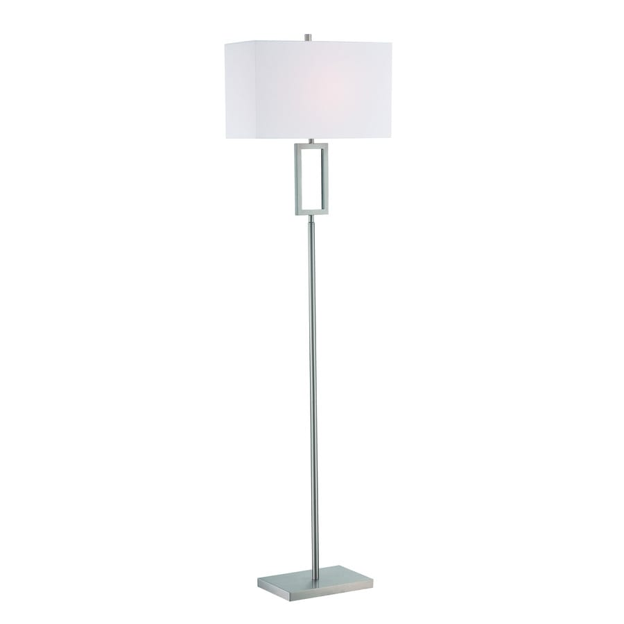 Lite Source Fiadi 61-in Polished Steel Floor Lamp with Fabric Shade