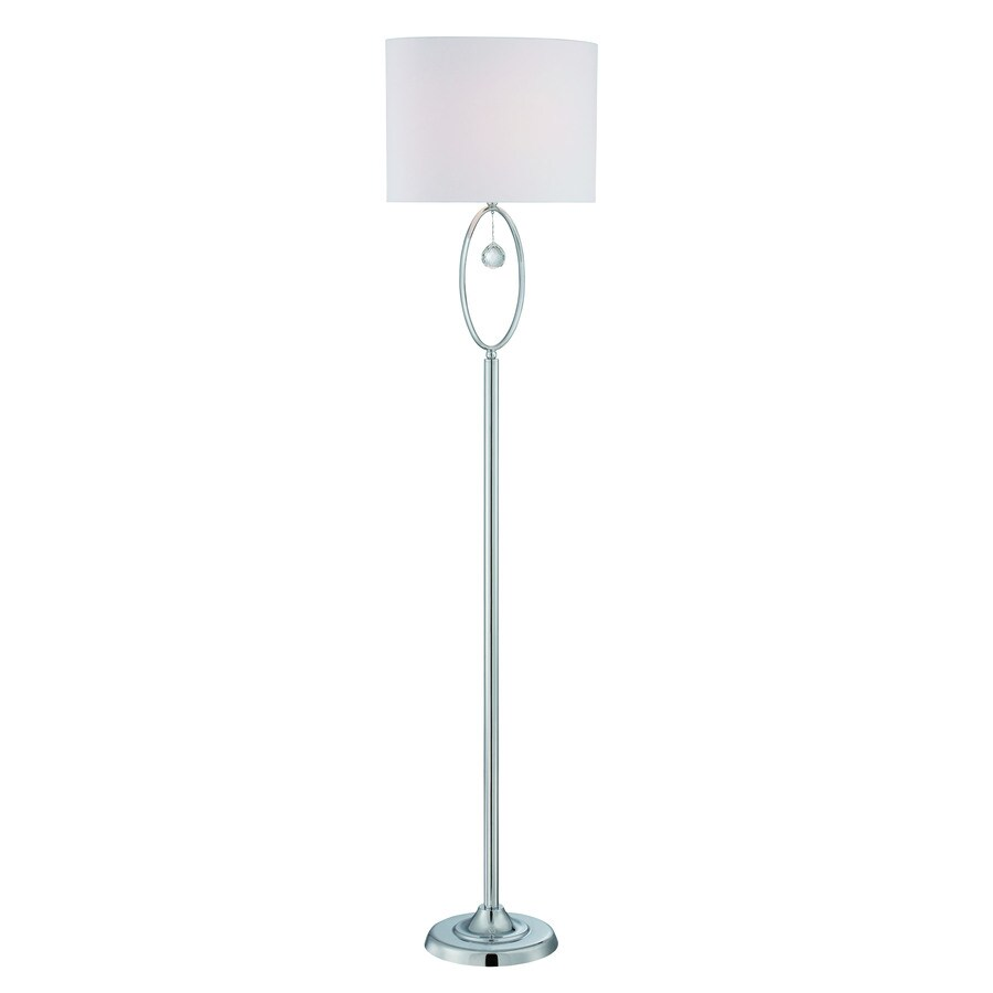 Lite Source Joya 61-in Chrome Crystal Shaded Indoor Floor Lamp with Fabric Shade