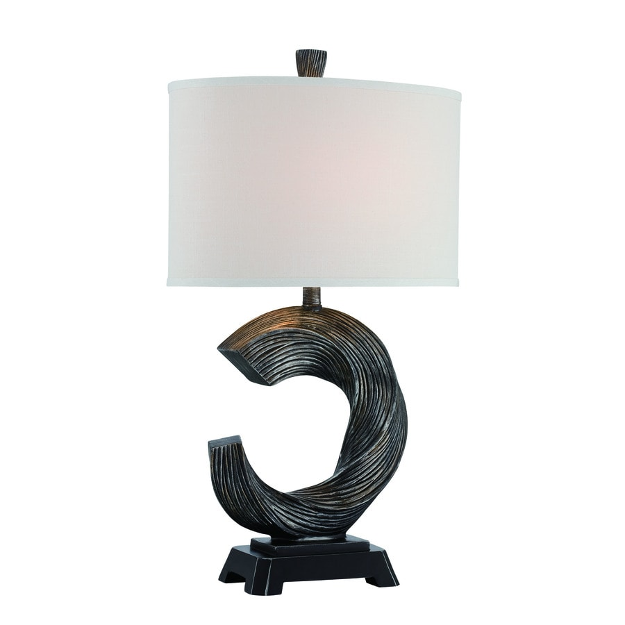 Lite Source Trisha 30.5-in Brushed Bronze Standard 3-Way Switch Table Lamp with Fabric Shade