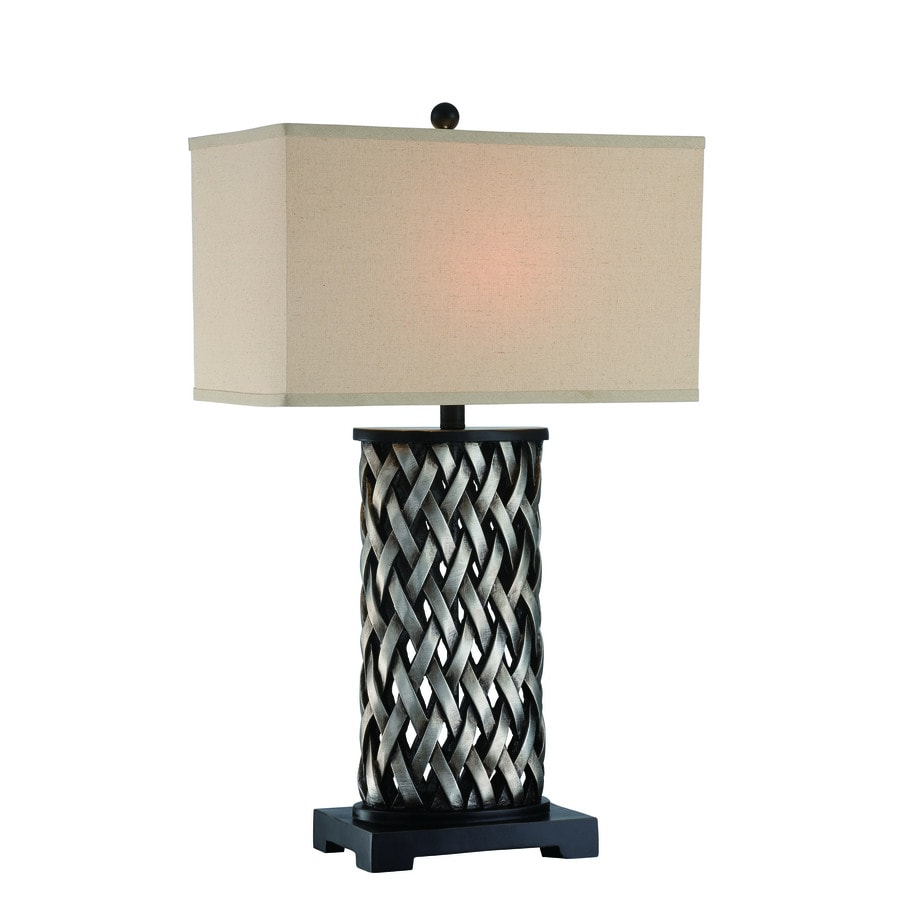 Lite Source Sadler 30-in 3-Way Aged Silver Indoor Table Lamp with Fabric Shade