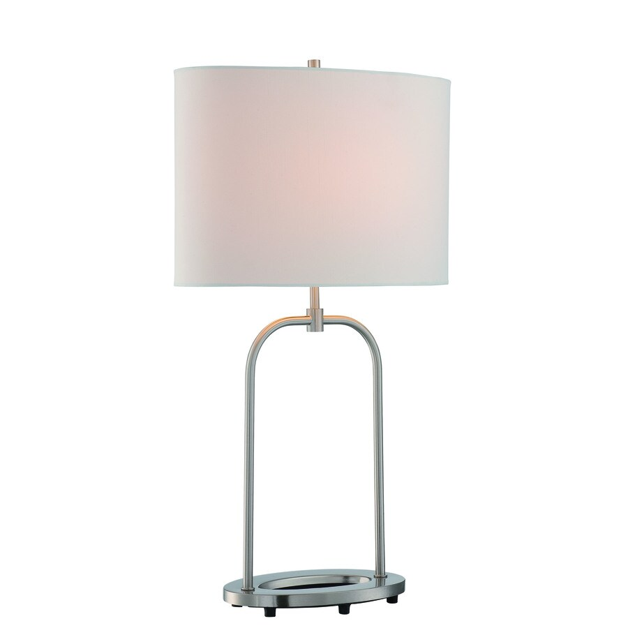 Lite Source Cailean 27.5-in Polished Steel Standard Table Lamp with Fabric Shade