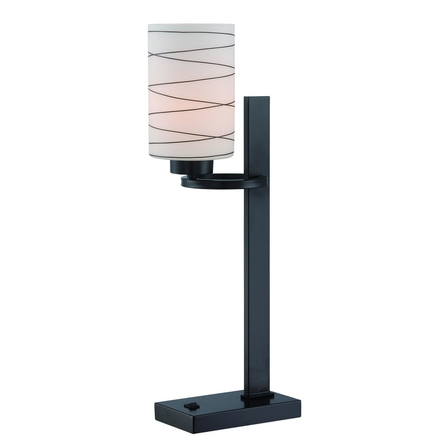 Lite Source Tsukiko 22-in Black Standard Table Lamp with Glass Shade