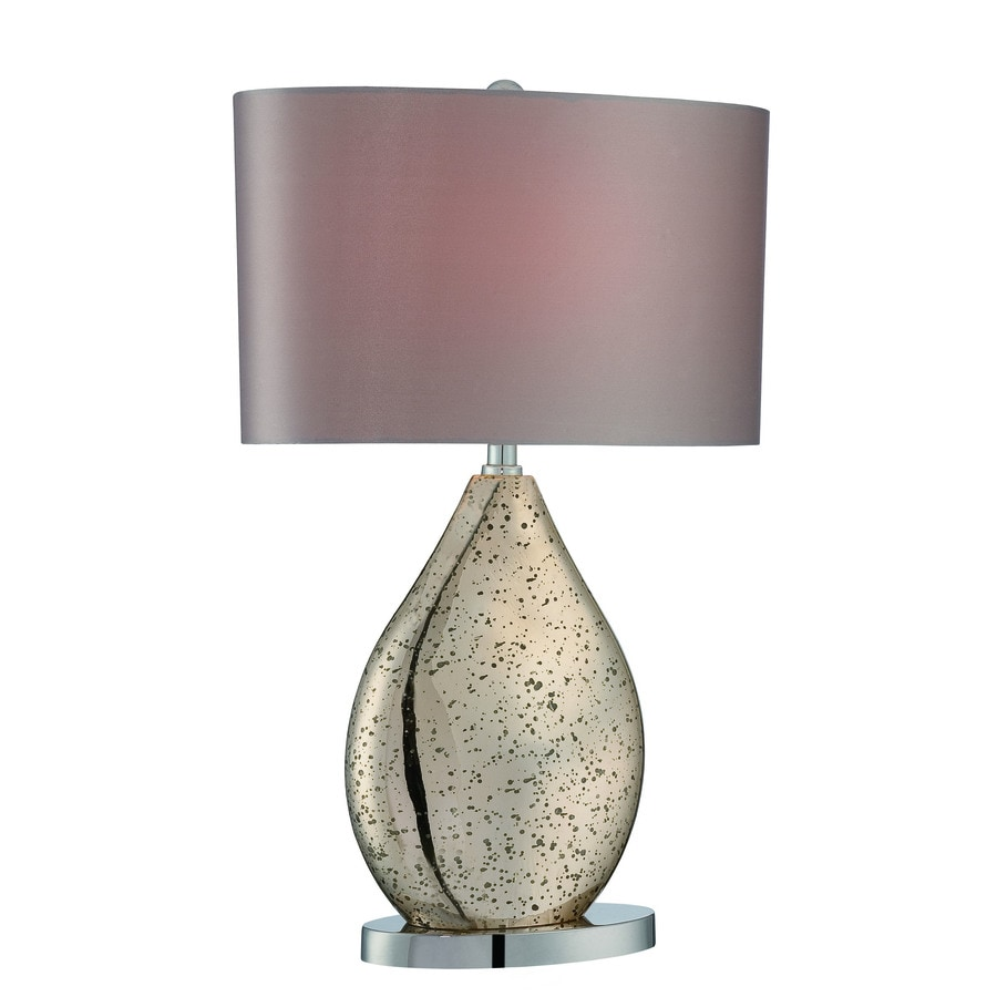 Lite Source Mandalay 23-in Chrome, Gold Mirror Standard Table Lamp with Fabric Shade