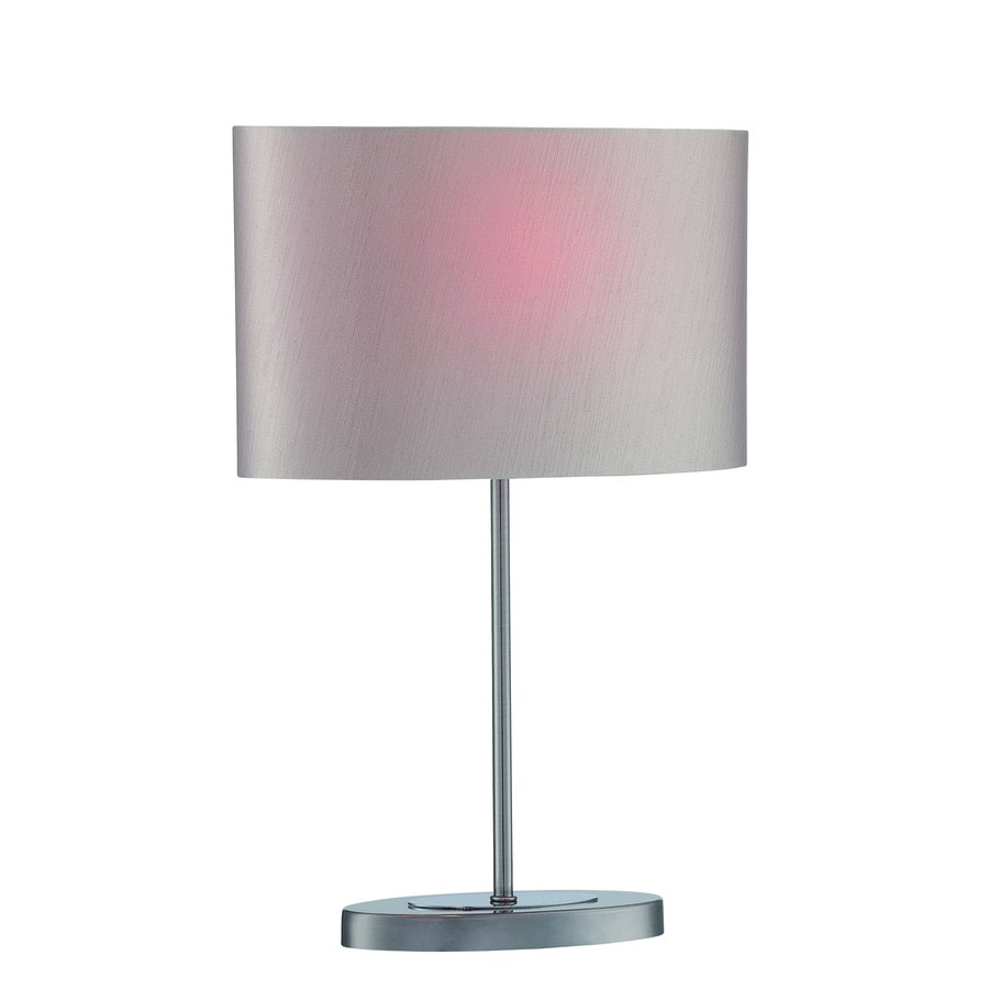 Lite Source Titus 20-in Gun Metal, Chrome Standard Table Lamp with Fabric Shade