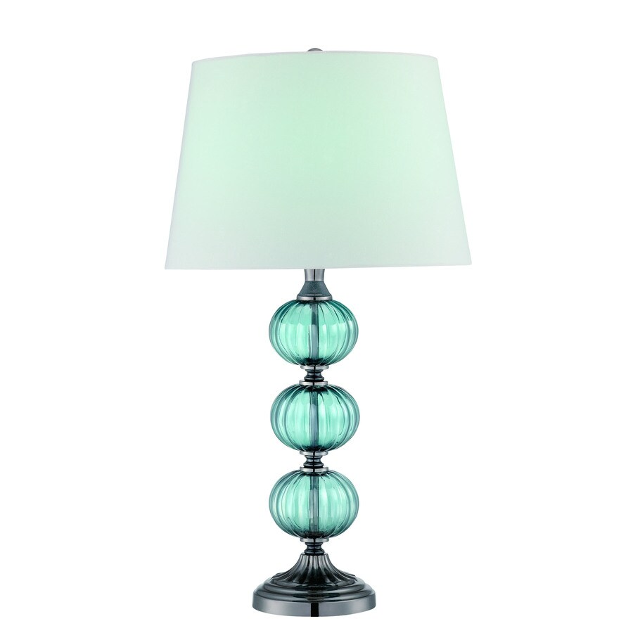 Lite Source Marin 27.5-in Gun Metal, Turquoise Standard Table Lamp with Fabric Shade