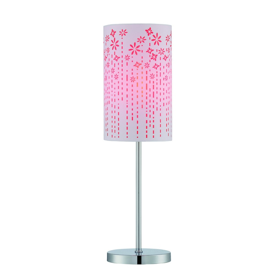 Lite Source Poppy 20.5-in Chrome Indoor Table Lamp with Fabric Shade