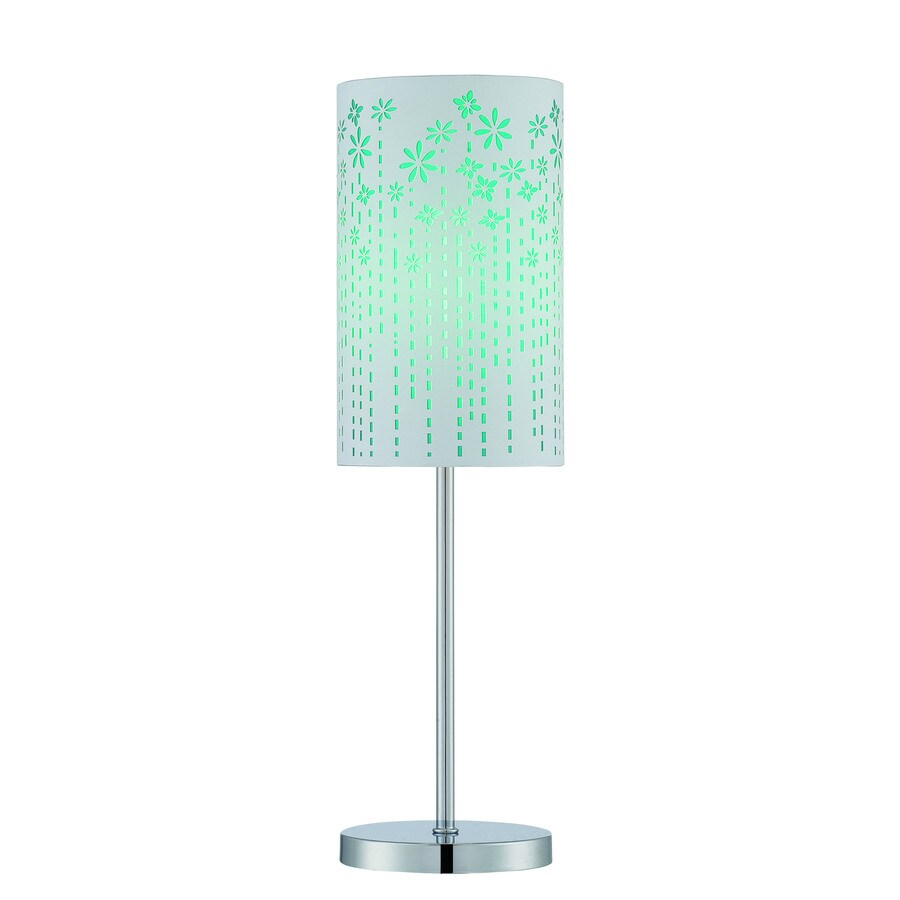 Lite Source Poppy 20.5-in Chrome Standard Table Lamp with Fabric Shade