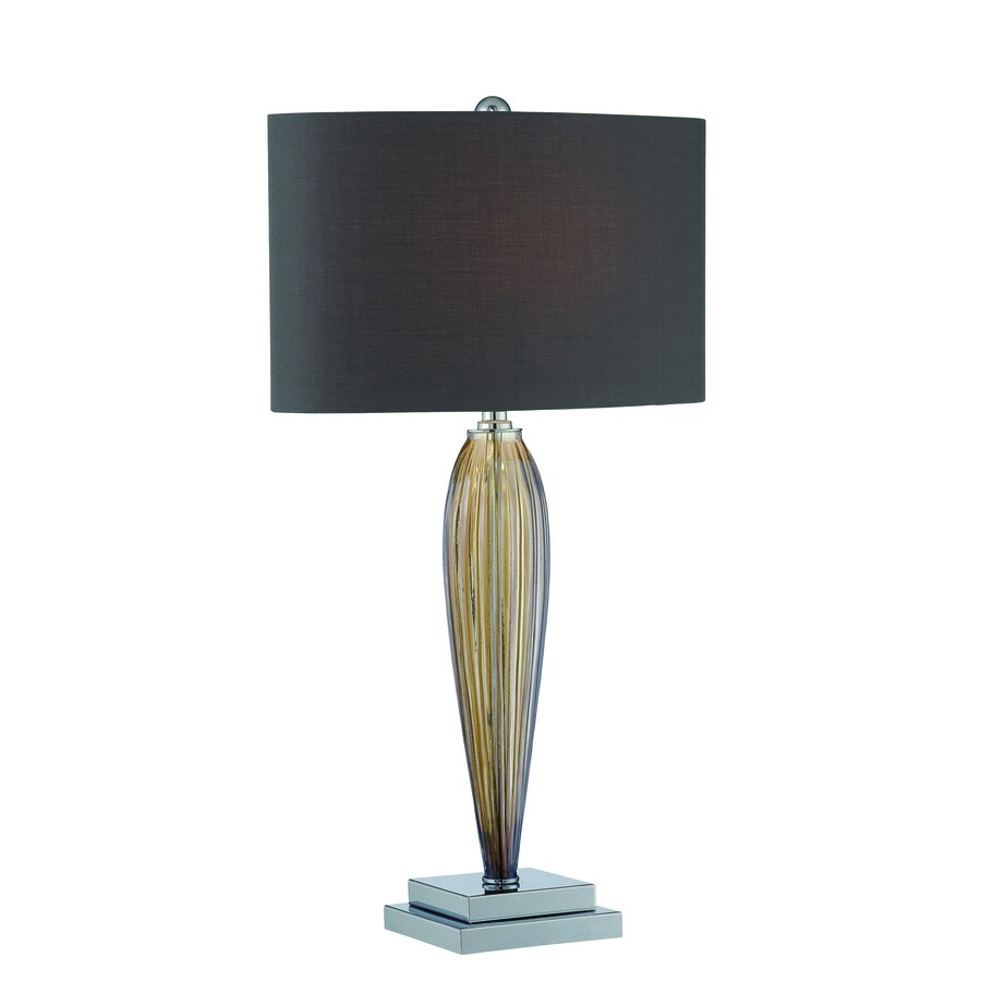 Lite Source Ofra 25.5-in Chrome, Smoked Amber Standard Table Lamp with Fabric Shade