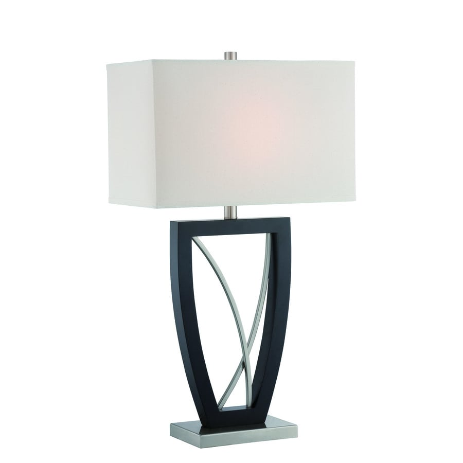 Lite Source Savino 30-in Polished Steel, Dark Walnut Indoor Table Lamp with Fabric Shade