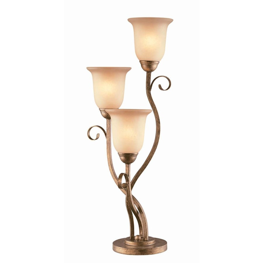 Lite Source 29.75-in Bronze Standard Table Lamp with Glass Shade