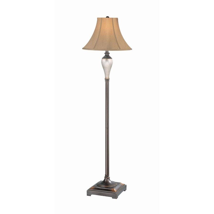 Lite Source 60-1/2-in 3-Way Switch Bronze Indoor Floor Lamp with Fabric Shade