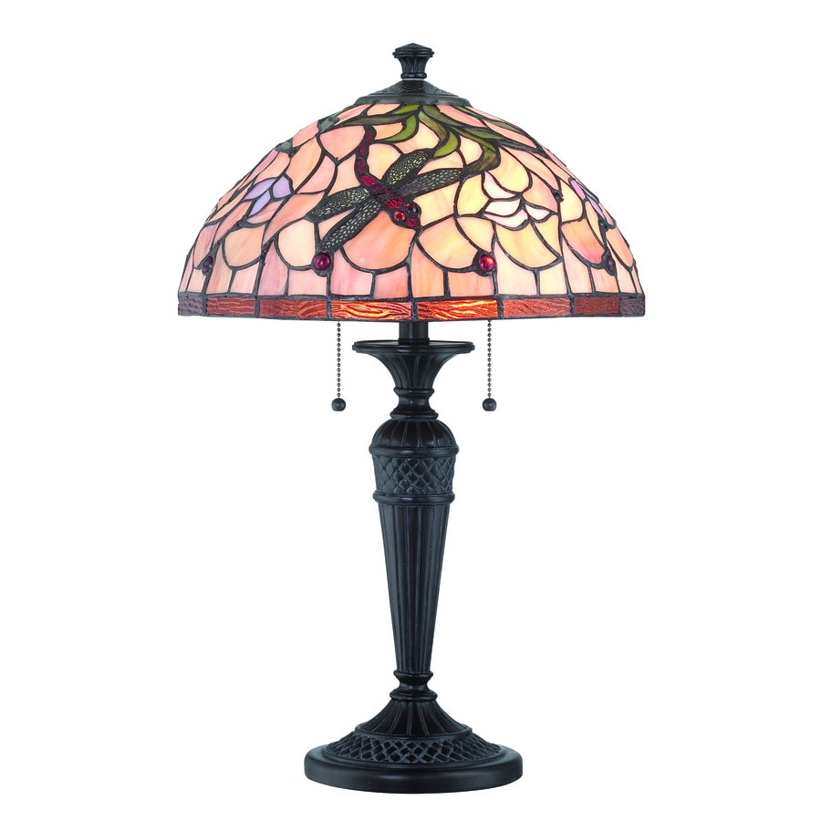 Lite Source Breanna 24.5-in Dark Bronze Standard Table Lamp with Tiffany-Style Shade