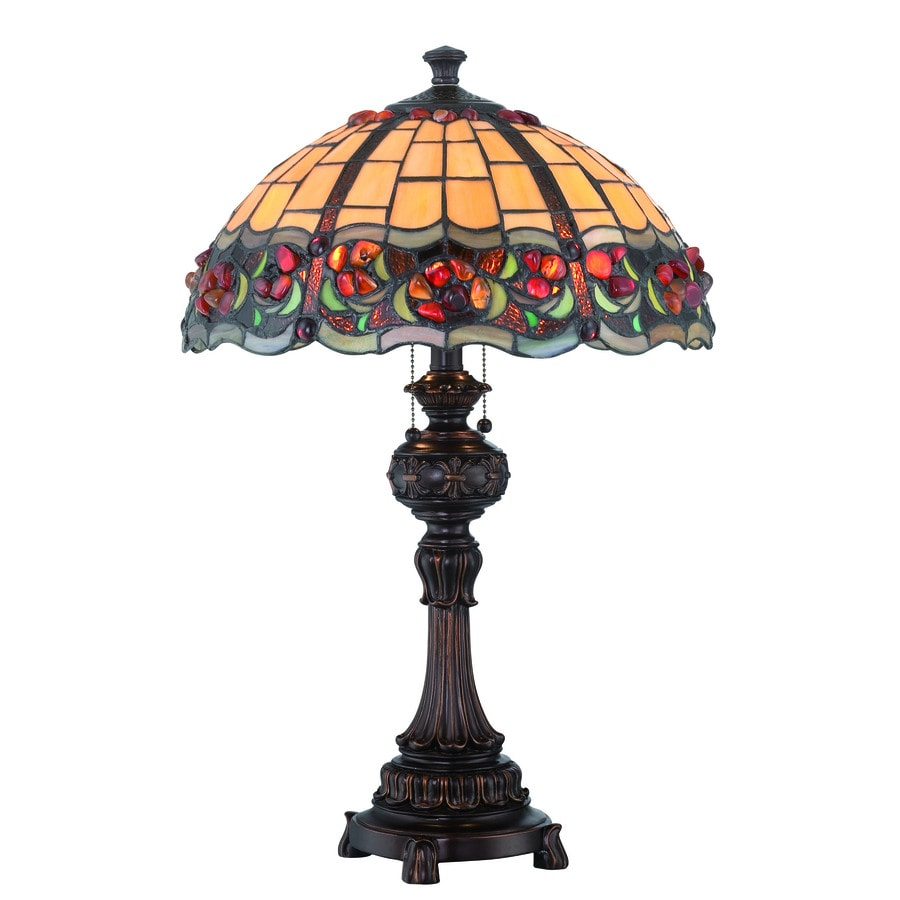 Lite Source Deana 25-in Dark Bronze Standard Table Lamp with Tiffany-Style Shade