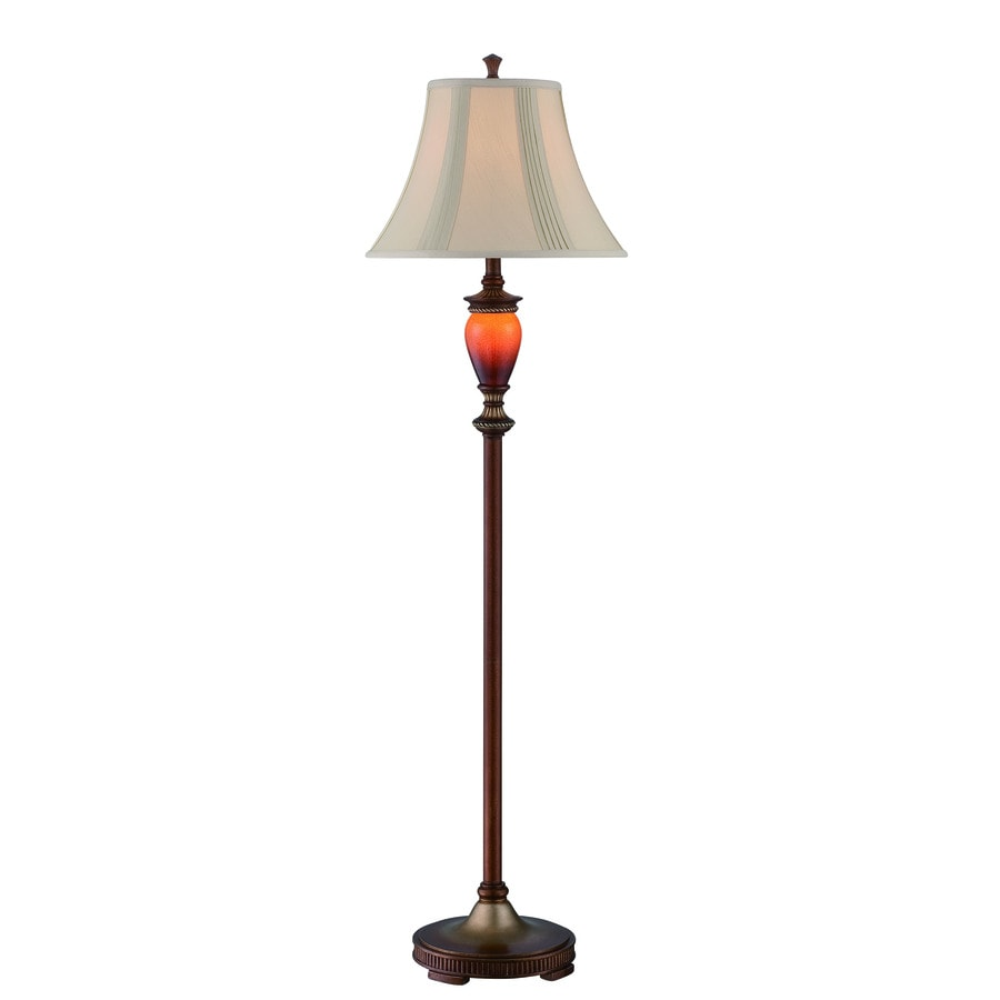 Lite Source Natalie 60-in 3-Way Switch Aged Gold, Amber Sand Shaded Floor Lamp Indoor Floor Lamp with Fabric Shade