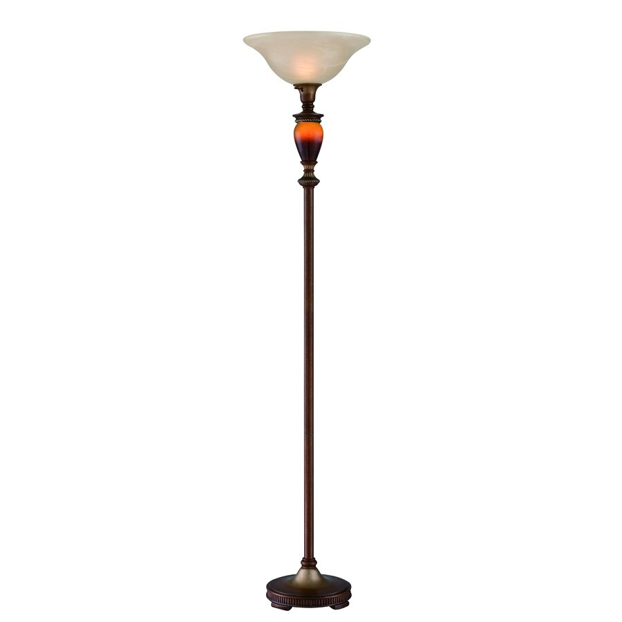 Lite Source Natalie 70.5-in 3-Way Switch Aged Gold, Amber Sand Torchiere Indoor Floor Lamp with Glass Shade