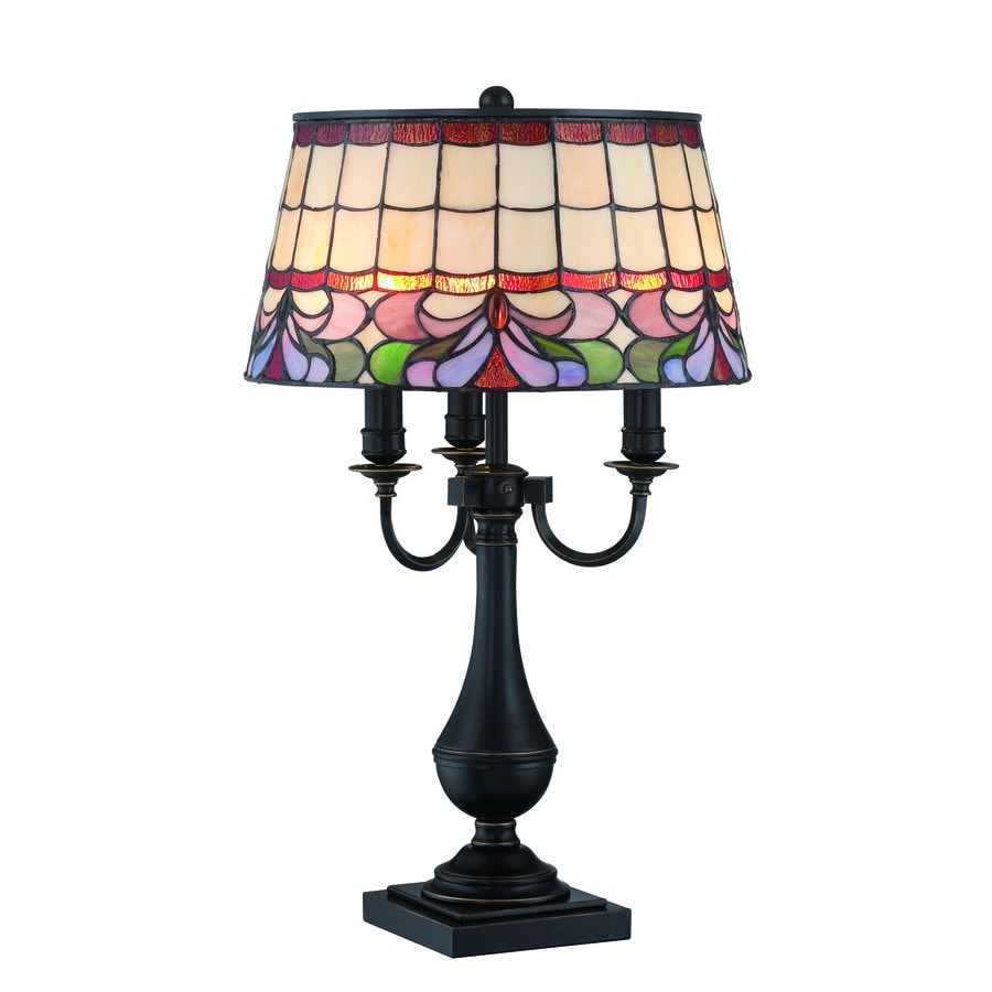 Lite Source Thasos 28-in Dark Bronze Tiffany-Style Indoor Table Lamp with Tiffany-Style Shade