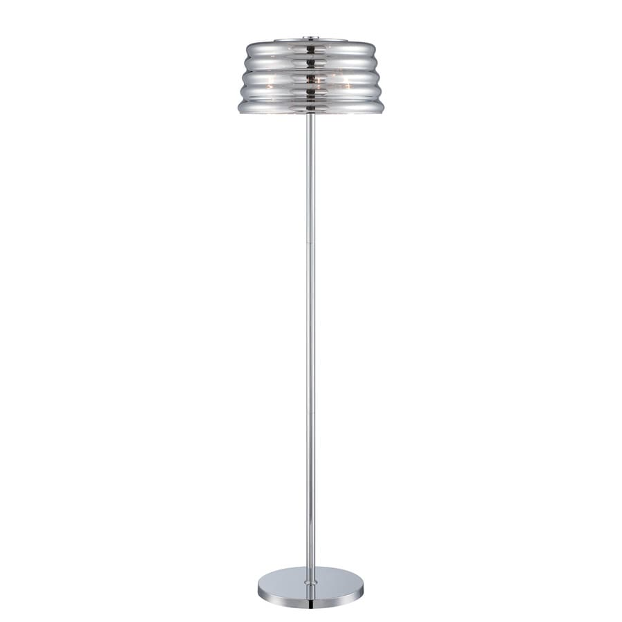 Lite Source Venice 61.5-in Chrome Indoor Floor Lamp with Glass Shade