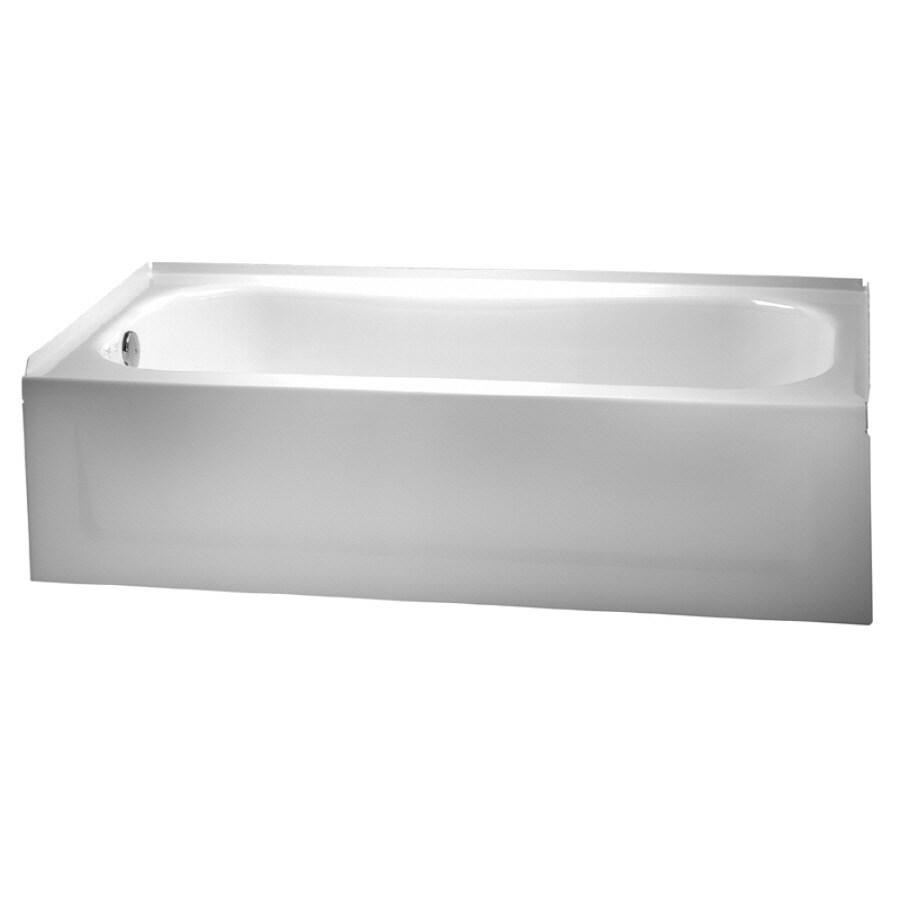 Crane Plumbing 60-in White Enameled Steel Freestanding Bathtub with Right-Hand Drain