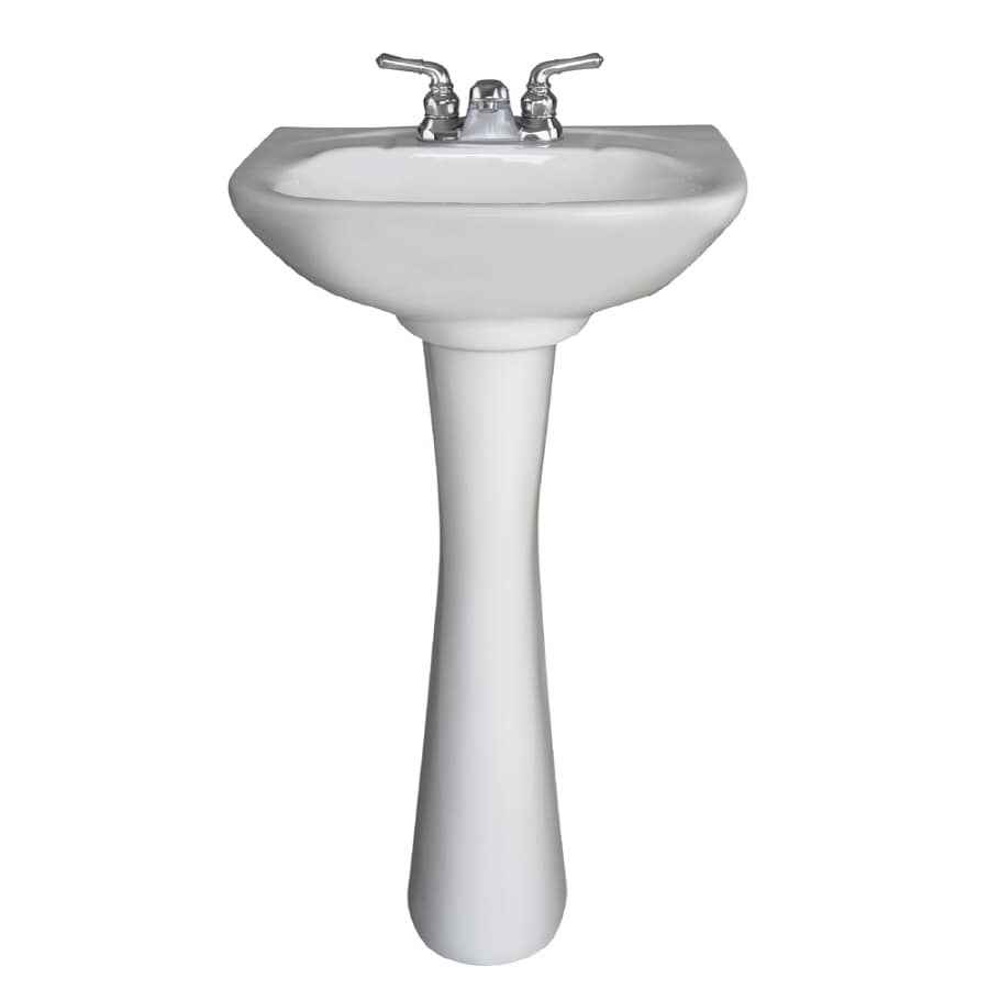 Crane Plumbing 33.375-in H White Vitreous China Complete Pedestal Sink (Drain Included)