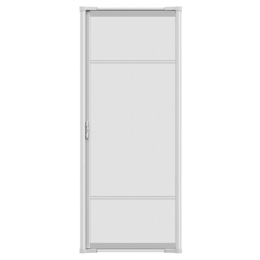 Shop odl white aluminum retractable screen door common for Disappearing screen doors lowes