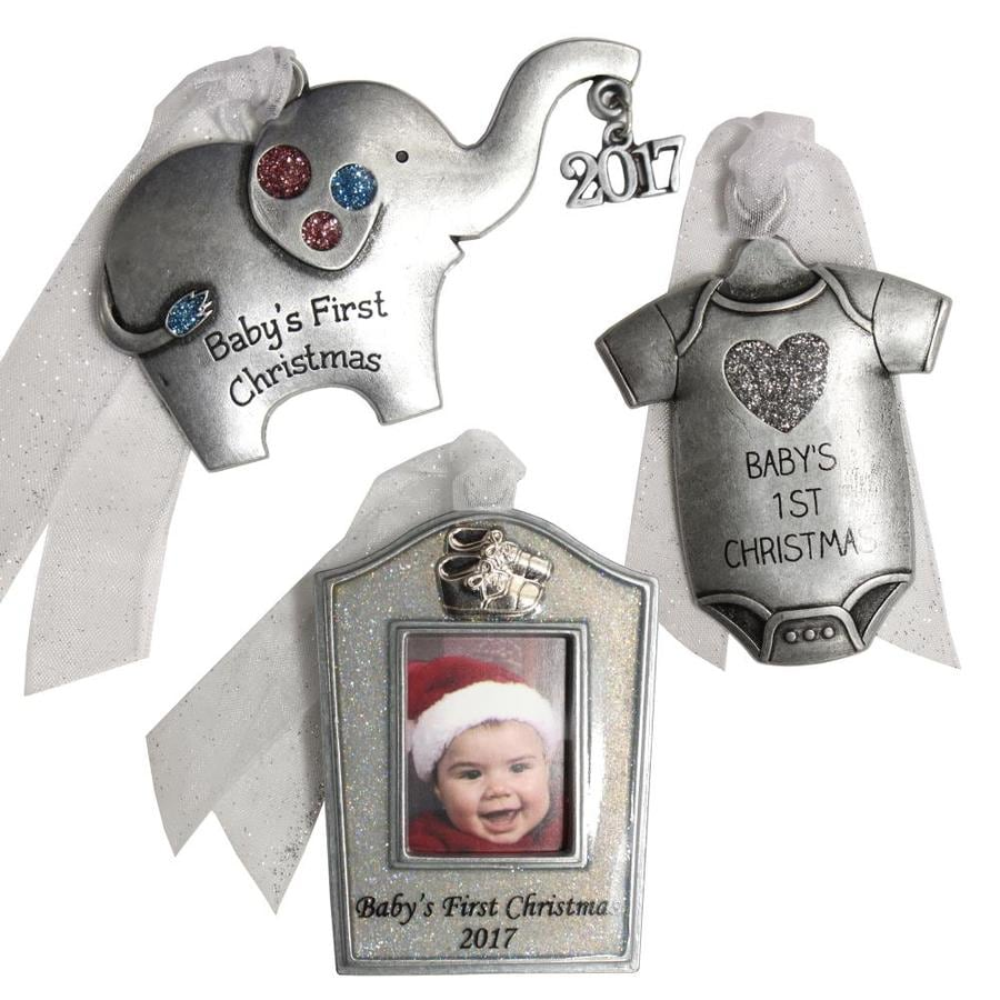 Gloria Duchin 3-Pack Pewter Baby's First Christmas Ornament Set Lights