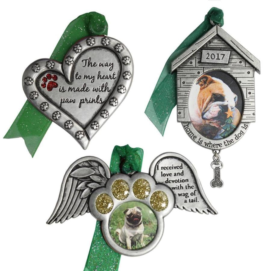 Gloria Duchin 3-Pack Pewter Home Is Where The Dog Is, I Received Love and Devotion with The Wag Of A Tail, The Way to My Heart Is Made with Paw Prints Pet Ornament Set