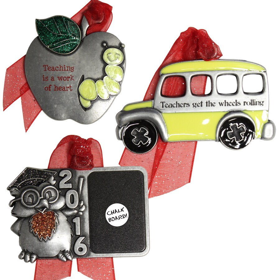 Gloria Duchin 3-Pack Pewter Teaching Is A Work Of Art, Teachers Get The Wheels Rolling Ornament Set